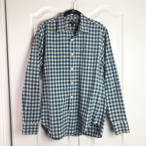 J Crew blue and white gingham shirt